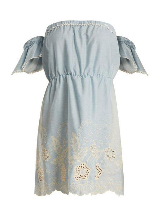 Athena Procopiou - Blue Gypset Off-the-shoulder Cotton Mini Dress - Lyst