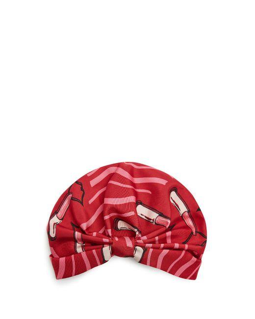 Valentino - Red Lipstick-print Silk-faille Turban Hat - Lyst
