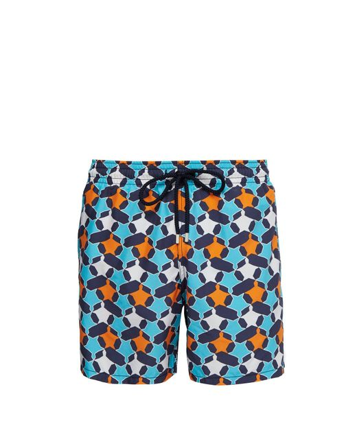 Vilebrequin Blue Moorea Geometric Turtle Print Swim Shorts for men