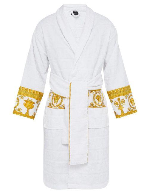 Versace White I Love Baroque Logo Jacquard Cotton Bathrobe for men