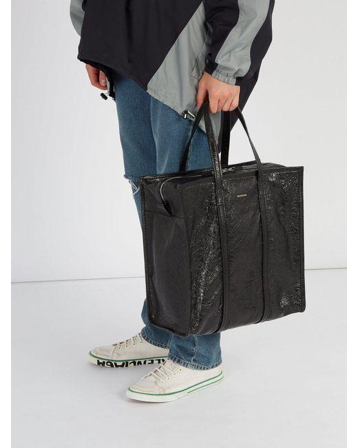 9e3886640 ... Balenciaga - Black Bazar Shopper M Leather Bag for Men - Lyst ...