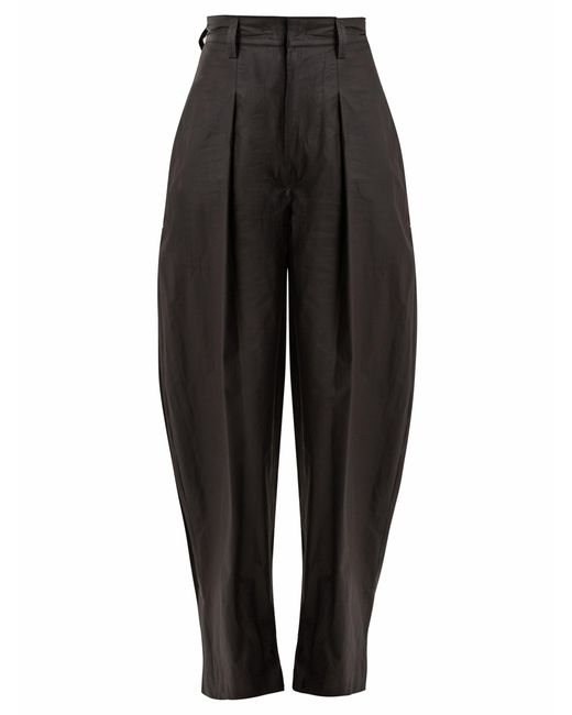 Isabel Marant - Black Hexi High-rise Coated-cotton Trousers - Lyst