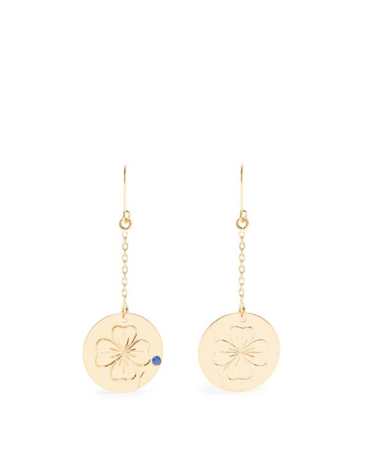 Aurelie Bidermann | Metallic Clover Sapphire & Yellow-gold Earrings | Lyst