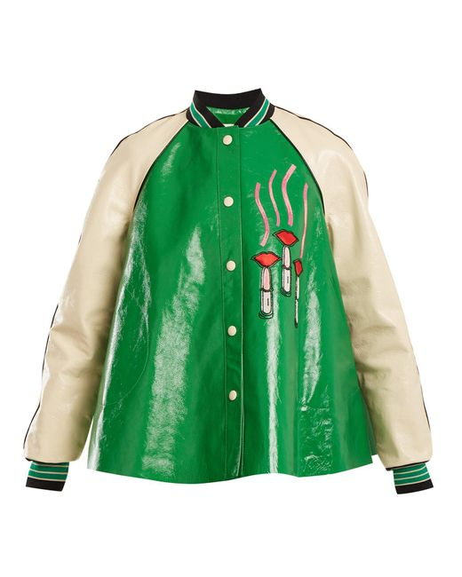 Valentino - Green Lipstick-appliqué Contrast-sleeve Leather Jacket - Lyst