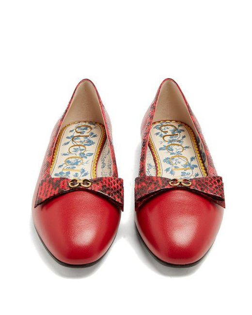 Eva bow-embellished leather ballet flats Gucci