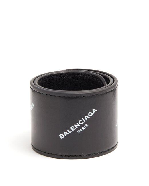 Balenciaga - Black Cycle Logo Print Snap Bracelet for Men - Lyst