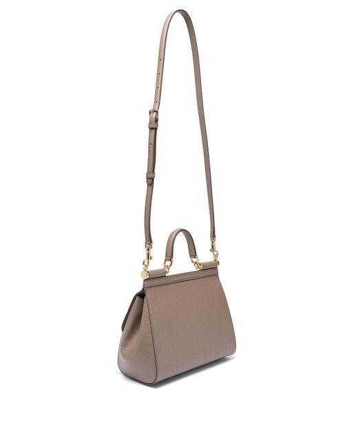 ... Lyst Dolce   Gabbana - Gray Sicily Medium Dauphine Leather Bag ... b73c6f354368c