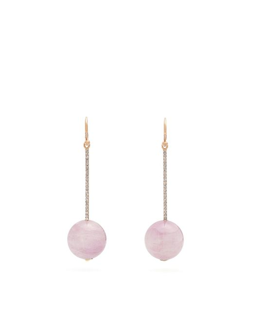 Irene Neuwirth - Multicolor Diamond & Kunzite Rose Gold Earrings - Lyst
