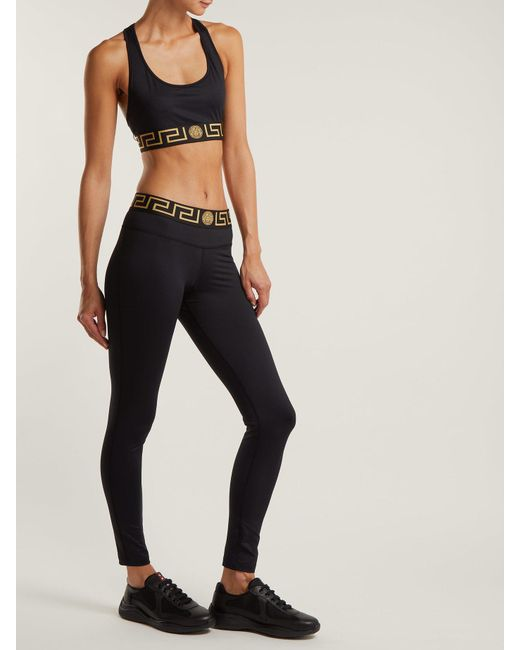 6d0efa4747c19 Versace Logo Print Performance Leggings in Black - Save 45% - Lyst
