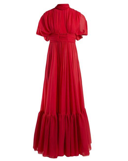 Robe de soirée en crêpe de Chine de soie Giambattista Valli en coloris Red