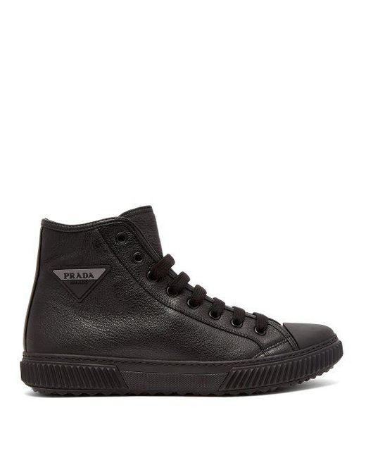 538f35aa521b6 Prada - Black Logo Patch High Top Leather Sneakers for Men - Lyst ...