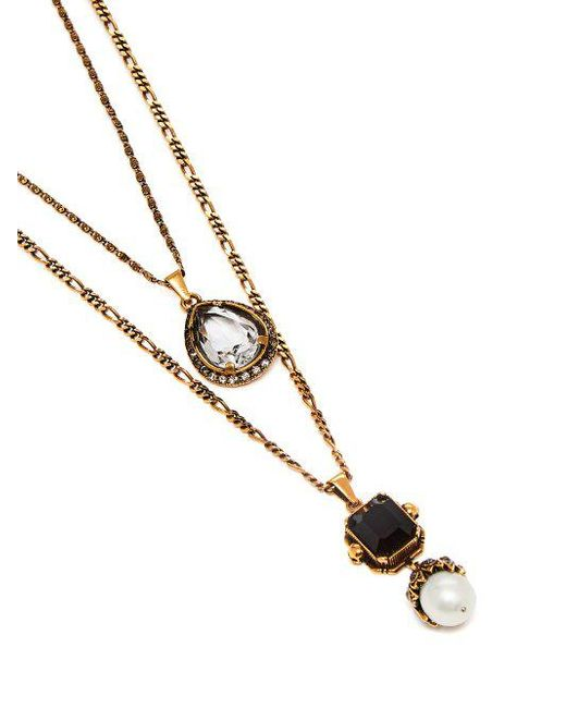 Alexander McQueen Scarab faux-pearl and crystal-embellished necklace J5zPtK