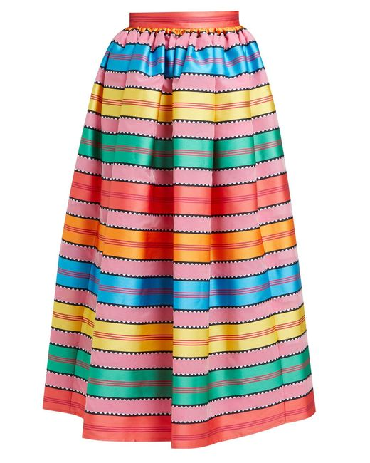 Mary Katrantzou Multicolor Egret Jacquard Striped Organza Midi Skirt