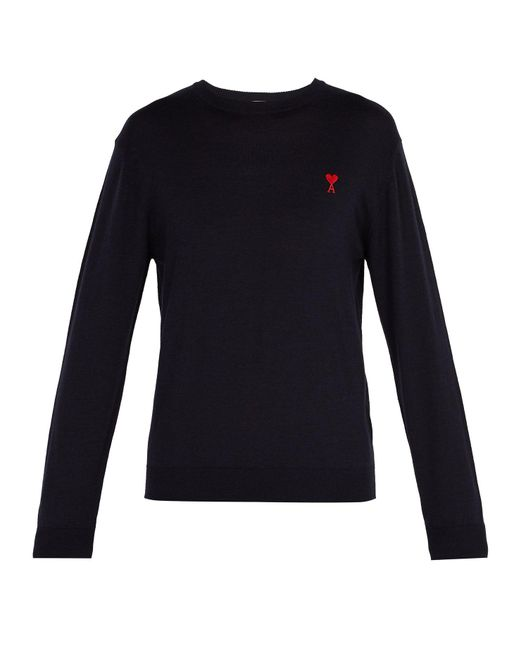 AMI - Blue Logo-embroidered Wool Sweater for Men - Lyst