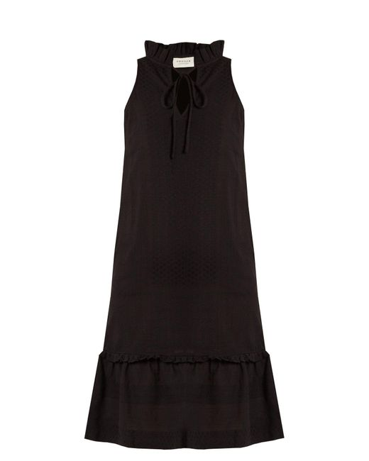 Cecilie Copenhagen - Black Tie Neck Scarf Jacquard Cotton Dress - Lyst