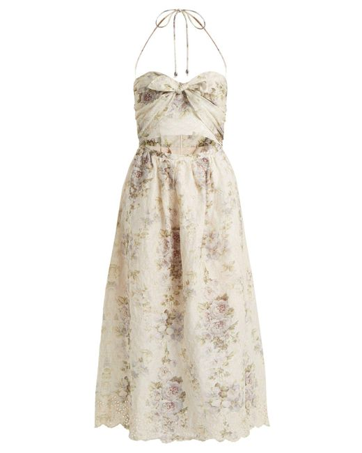 Zimmermann - Natural Iris Picnic Floral-print Linen Dress - Lyst