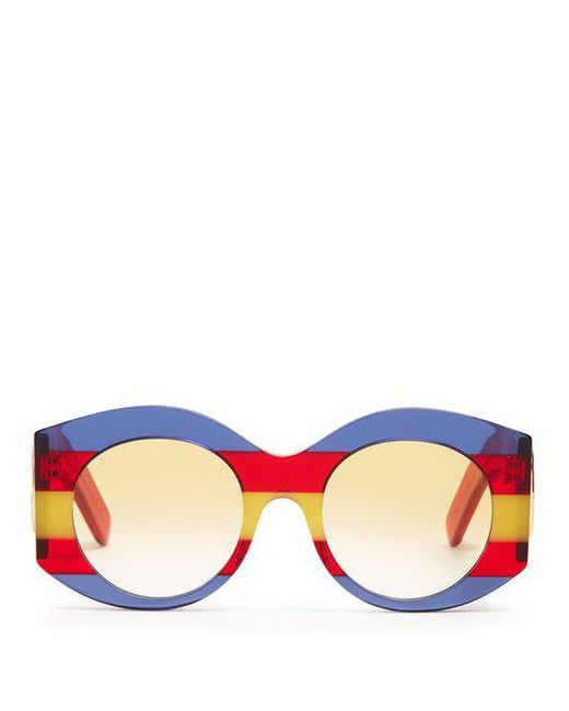 Striped round-frame acetate sunglasses Gucci abe5nCE