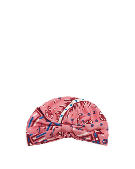 Valentino - Pink Abstract-print Silk-satin Turban Hat - Lyst