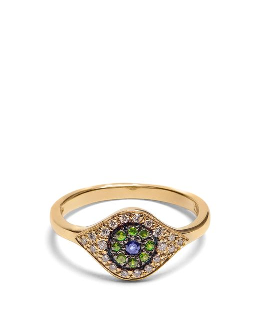 Ileana Makri - Metallic Diamond, Sapphire, Tsavorite & Yellow Gold Ring - Lyst