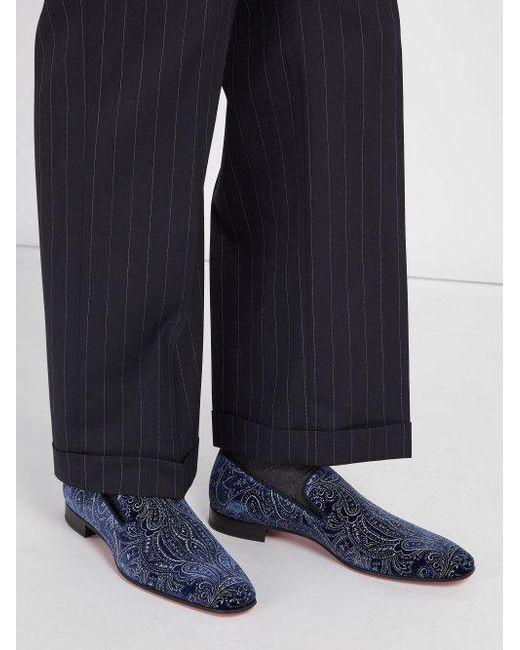 97f858456ac ... Christian Louboutin - Blue Dandelion Velvet Loafers for Men - Lyst ...