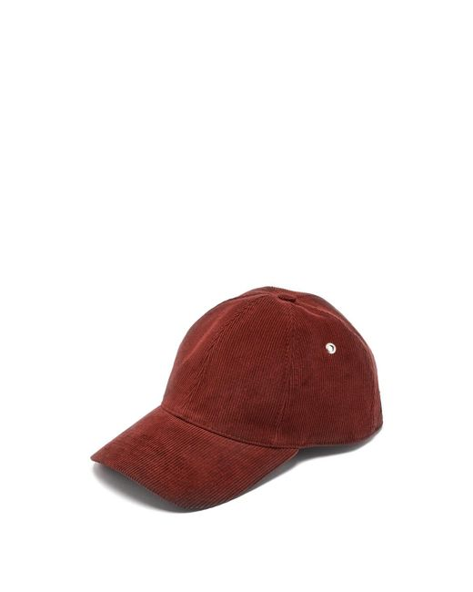 AMI - Red Cotton Corduroy Baseball Cap for Men - Lyst