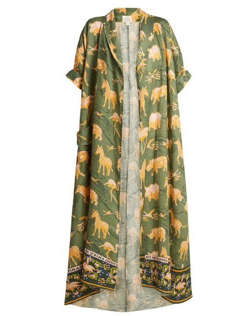 Chufy - Green Safari Print Linen Robe - Lyst