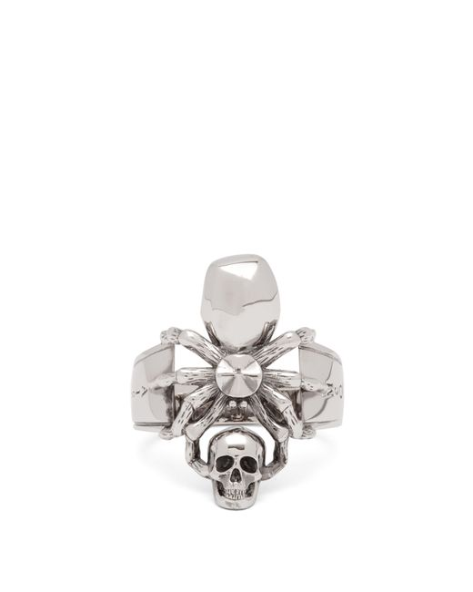Alexander McQueen - Metallic Spider & Skull Ring for Men - Lyst