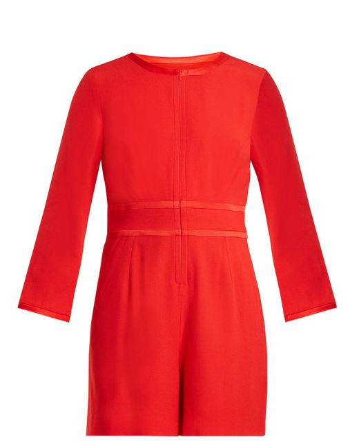 Goat - Red Fillie Long Sleeved Crepe Cady Playsuit - Lyst