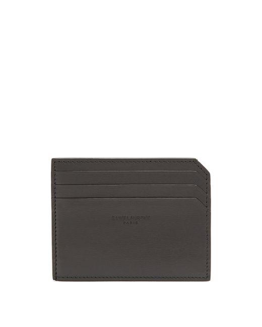 Saint Laurent - Black Fragments Leather Cardholder for Men - Lyst