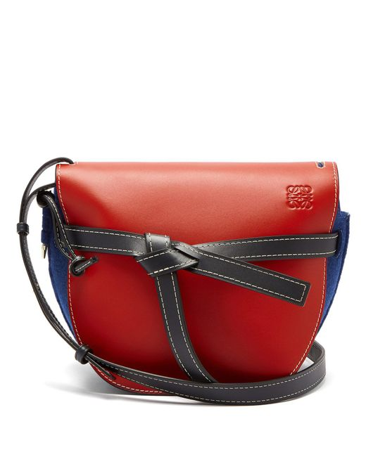 Loewe - Red Gate Leather And Felt Cross-body Bag - Lyst
