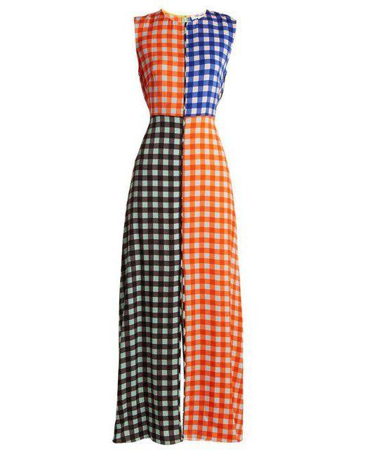 Diane von Furstenberg - Orange Contrasting Cossier-print Stretch-silk Dress - Lyst