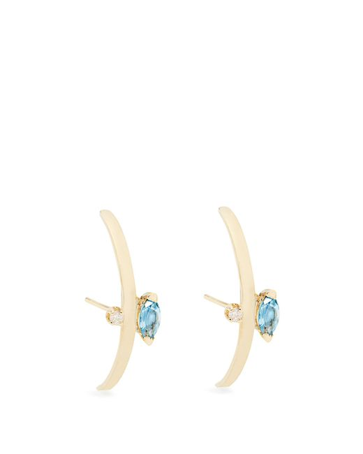 Loren Stewart | Blue Diamond, Topaz And Yellow-gold Earrings | Lyst