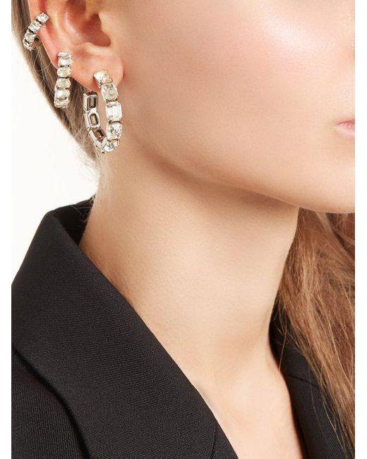 Saint Laurent Set of three crystal-embellished hoop earrings bLe2wYt