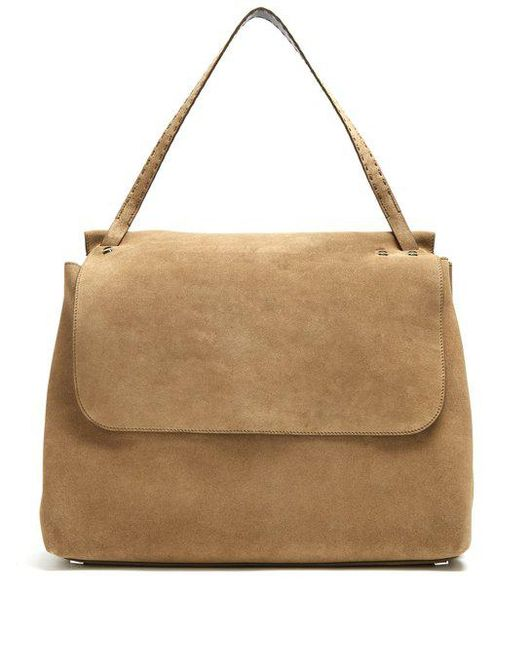 The Row - Natural Top Handle 14 Suede Shoulder Bag - Lyst