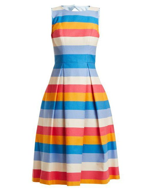 Multicoloured striped cotton-blend dress Carolina Herrera ePLbu