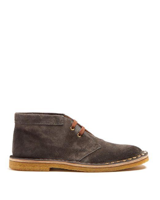 Stud Boots For Desert Men Lyst In Suede Embellished Prada Dwxrefqxf Gray hsrtQd