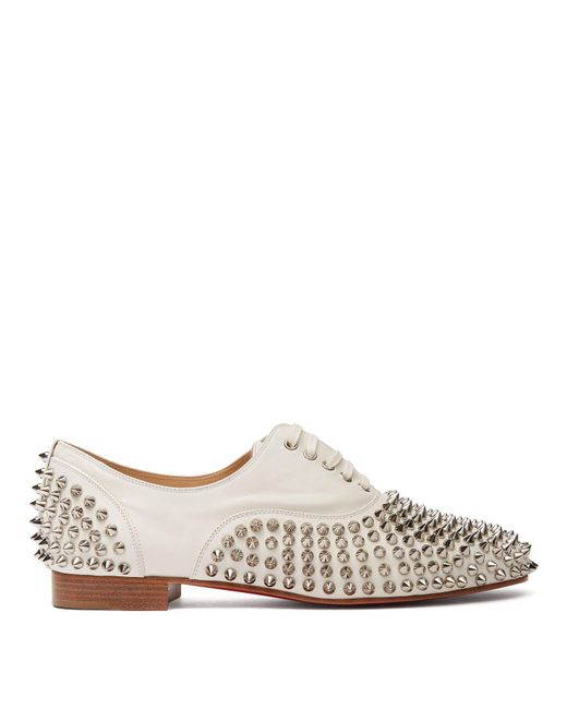 d9d64ef1503 Christian Louboutin - White Freddy Spikes Donna Leather Oxfords - Lyst ...