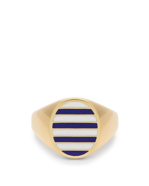 Jessica Biales - Blue Enamel & Yellow Gold Ring for Men - Lyst