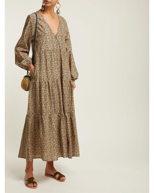 d1885c95b8f ... Matteau - Multicolor The Long Sleeve Tiered Cotton Maxi Dress - Lyst ...