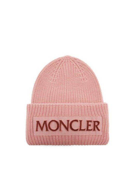 5bb06ced5e8 ... sale retailer d57f3 b8e83 Moncler - Pink Velvet-logo Wool Beanie Hat -  Lyst . ...