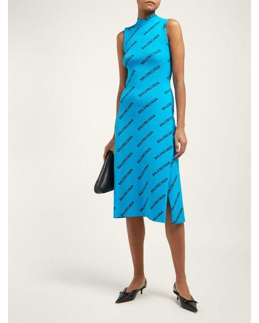 42946aa08f1 ... Balenciaga - Blue Logo Print Ribbed Wrap Midi Dress - Lyst ...