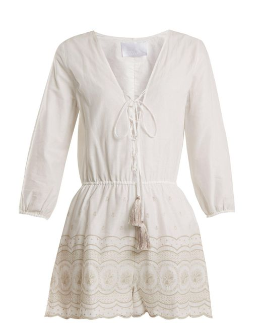 Athena Procopiou - White Sunday Morning Lace Up Cotton Playsuit - Lyst