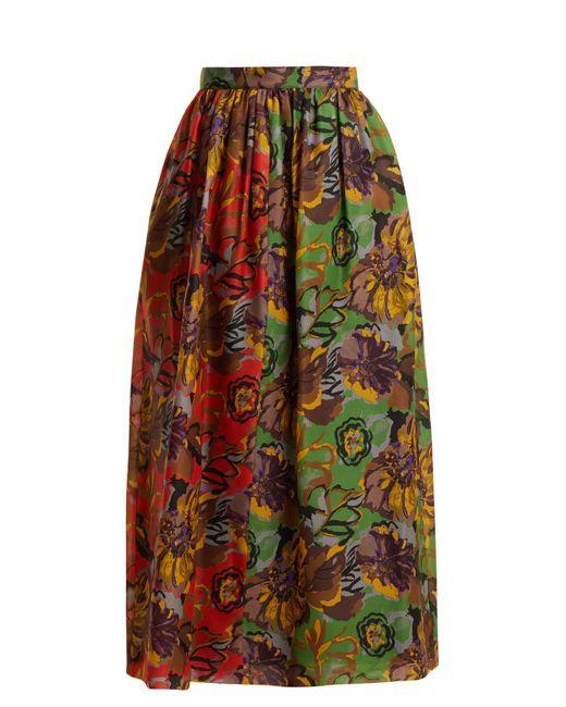 Duro Olowu - Multicolor Floral Print Silk Gazar Skirt - Lyst