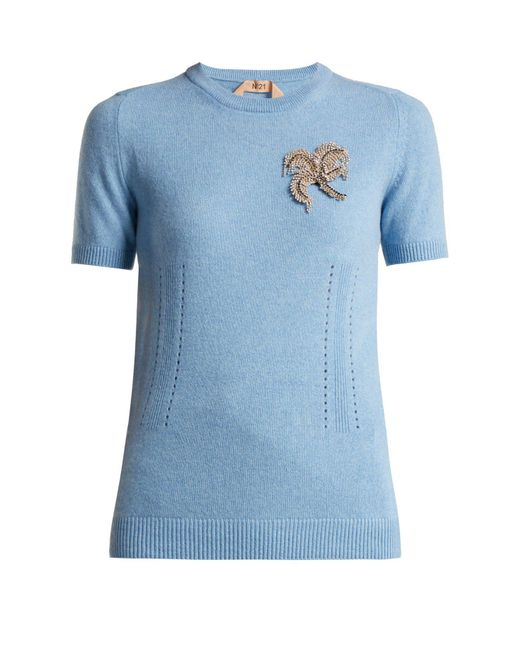 N°21 - Blue Crystal Appliqué Cashmere Sweater - Lyst