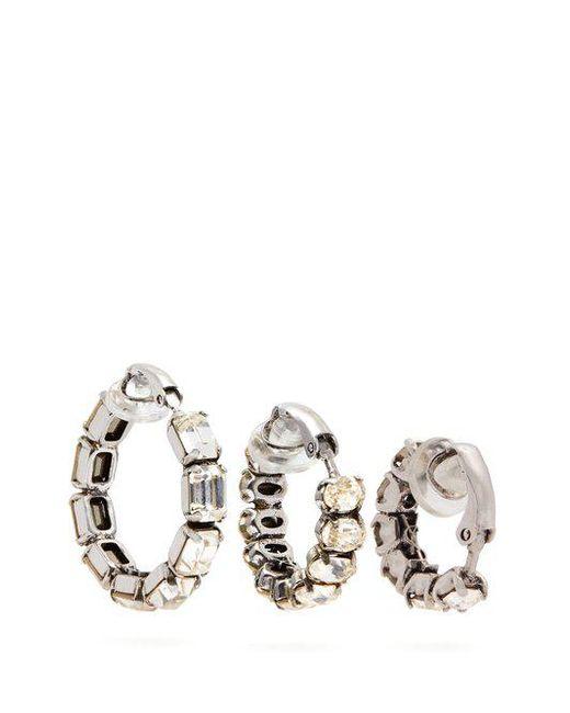 Saint Laurent Set of three crystal-embellished hoop earrings VO9Fe3q