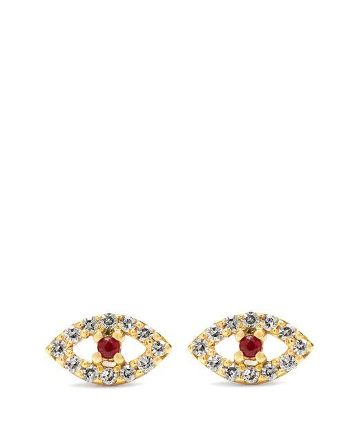 Ileana Makri | Metallic Diamond, Ruby & Rose-gold Earring | Lyst