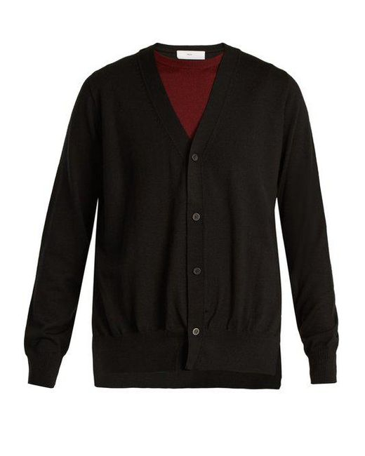 Toga - Black Layered V-neck Wool Cardigan - Lyst