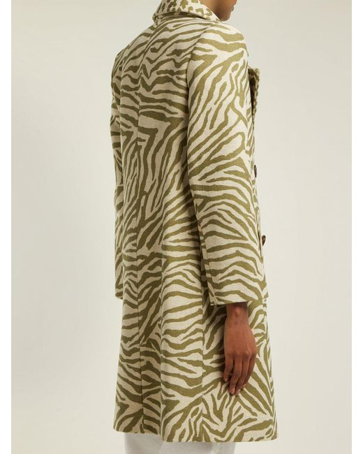 9655ad89d ... See By Chloé - Natural Tiger Print Wool Blend Coat - Lyst ...