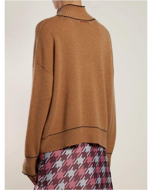 e68b068de0e Marni Intarsia Knit Cashmere Sweater in Brown - Lyst