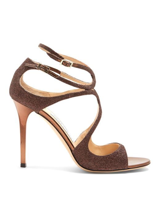 Jimmy Choo | Metallic Lang 100mm Glitter Sandals | Lyst